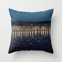 Night view of Donostia-San Sebastian. Spain. Throw Pillow