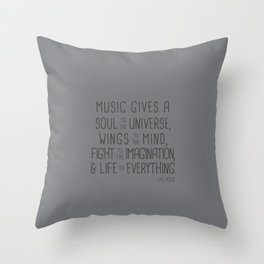 Music Gives Soul To The Universe Plato Throw Pillow