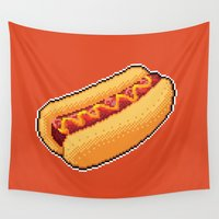 hot dog Wall Tapestries featuring Pixel Hot Dog by TheSkywaker