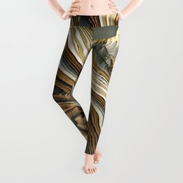 White Gold Agate Abstract Leggings