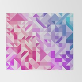 Colorful Geometric Pattern Saturated Rainbow Pattern Design (Red Pink Purple Blue) Throw Blanket