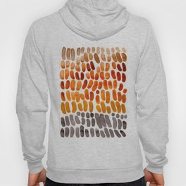 Colorful Watercolor Abstract Scale Bean Pattern Yellow Ochre Brown Orange Hoody