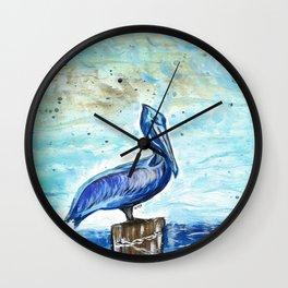 Blue Pelican Wall Clock