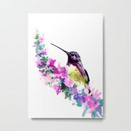 Hummingbird and Pink Flower Metal Print