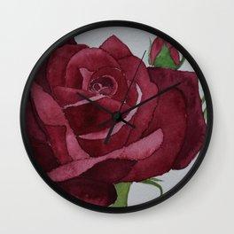 Deep Crimson  Watercolour Rose Wall Clock