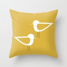 Shorebird Pair in Light Mustard and White Throw Pillow