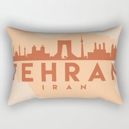 TEHRAN IRAN CITY MAP SKYLINE EARTH TONES Rectangular Pillow