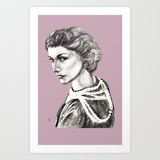 Coco portrait with pearls Art Print