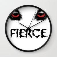 fierce Wall Clocks featuring Fierce by Nicolekay