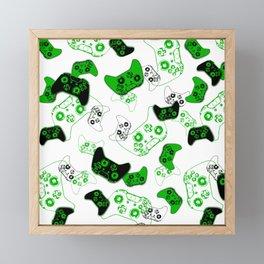 Video Game White and Green Framed Mini Art Print