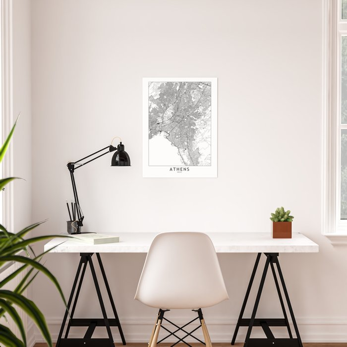 Athens White Map Poster