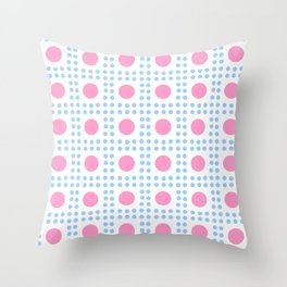 new polka dot 7 -pink and blue Throw Pillow