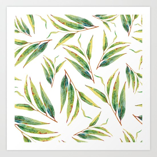 leaves watercolor pattern Art Print