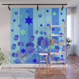 STARS & BLUE MORNING GLORIES RAIN POP ART Wall Mural