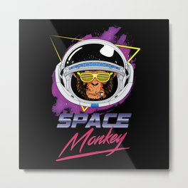 Retro Space Monkey 80s Metal Print