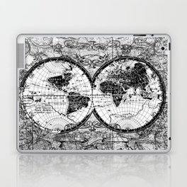 world map black and white Laptop & iPad Skin