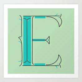 Drop Cap E - decorative letter - typography - monogram - capital Art Print