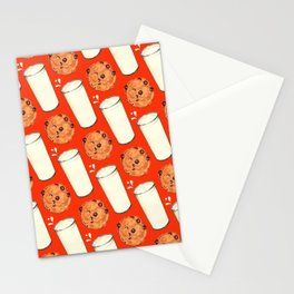 Milk & Cookies Pattern - Red Stationery Cards