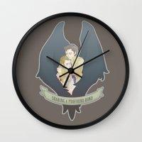 destiel Wall Clocks featuring [ Supernatural ] Destiel Castiel Dean Winchester by Vyles