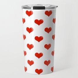 Red Hearts Travel Mug