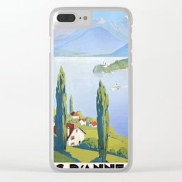 French vintage travel poster Annecy France Clear iPhone Case