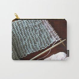 knitting, knitting photos, oatmeal color, peach, natural color, scarf, cotton Carry-All Pouch