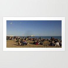 Busy Brighton Beach Art Print
