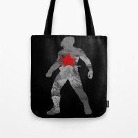 bucky barnes Tote Bags featuring Winter Soldier (Bucky Barnes) by MajesticSeahawk Designs
