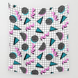 It's Casual - memphis throwback retro neon squiggle grid shapes geometric black and white modern art Wall Tapestry