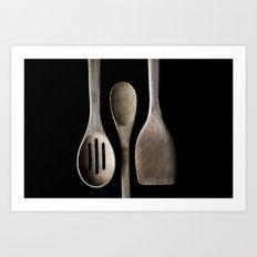 Wooden Kitchen Utensils Art Print