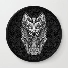 Beautiful Grey wolf aztec pattern Wall Clock