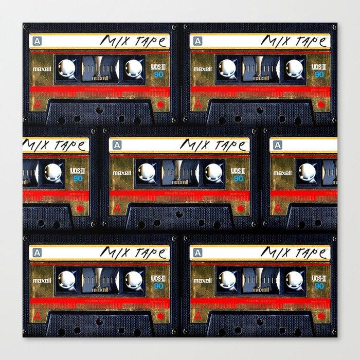 Retro classic vintage gold mix cassette tape Leinwanddruck