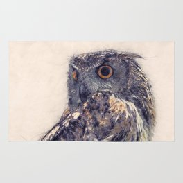 Great Horned Owl Painting - Nature Art Prints Rug