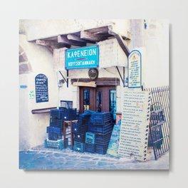 Greek Cafe Closed (Square) Metal Print
