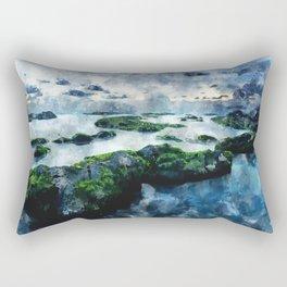 Blue sunset on the beach - watercolor Rectangular Pillow