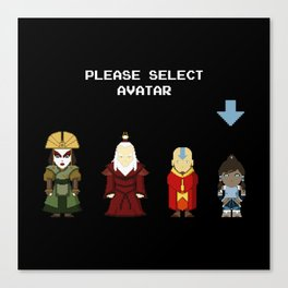 Avatar Selection Screen Canvas Print