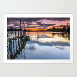 Sunset reflections on the river Art Print
