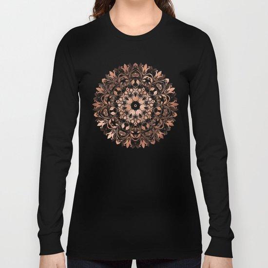 Rose Gold Floral Mandala Long Sleeve T-shirt