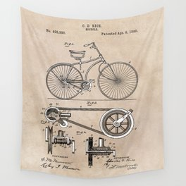 patent Bicycle 1890 Rice Wall Tapestry
