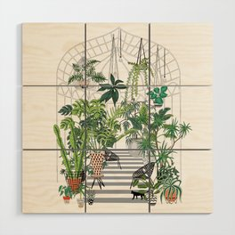 greenhouse illustration Wood Wall Art