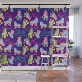 Roller Skates Pattern (Purple Background) Wall Mural