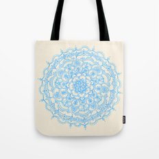 Pale Blue Pencil Pattern - hand drawn lace mandala Tote Bag