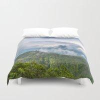 indonesia Duvet Covers featuring Mt Batur - Bali, Indonesia by Jennifer Stinson