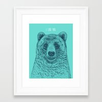 i like you Framed Art Prints featuring I Like You (Bear) by Rachel Caldwell