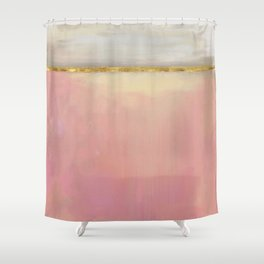 Serenity: Pink, Gold And Grey Abstract Art Painting Shower Curtain
