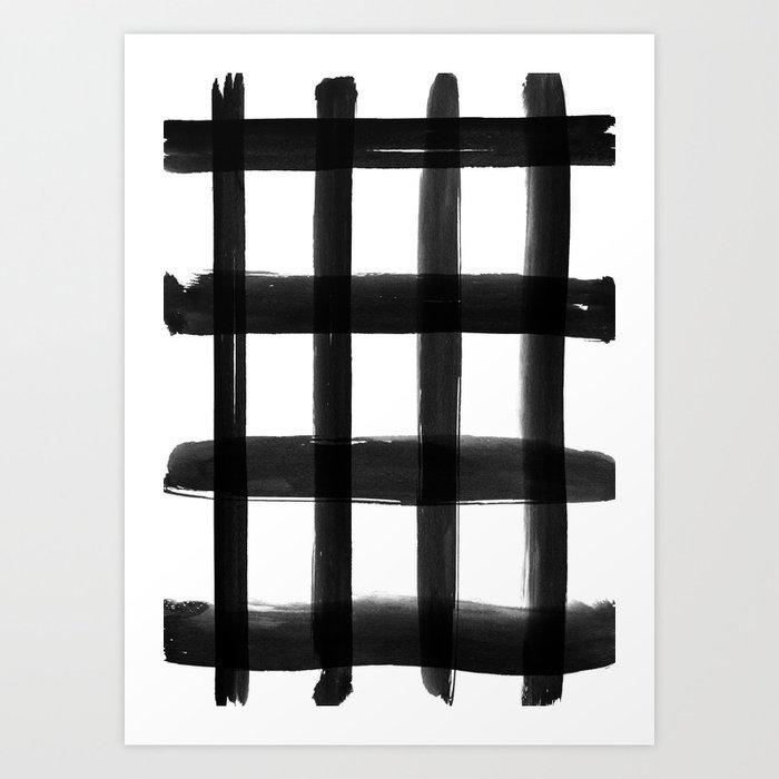 Black Brush Strokes Art Print