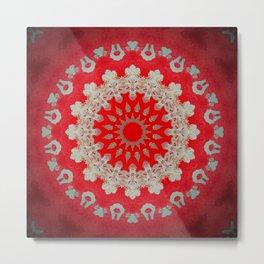 Bright Red Mandala Metal Print