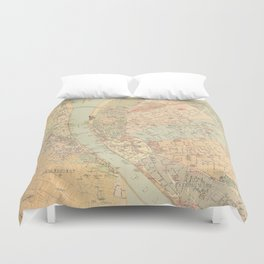 Vintage Map of Budapest Hungary (1884) Duvet Cover
