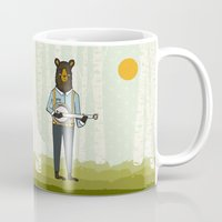 banjo Mugs featuring Bear's Bourree - Bear Playing Banjo by Prelude Posters