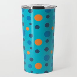 Blue and Orange dots on Blue Travel Mug